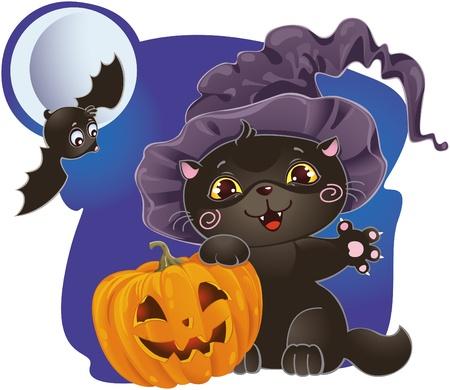 Halloween kitten with pumpkin Stock Vector - 8912600
