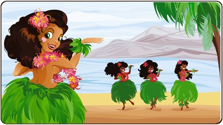 Hula dancer in Hawaii. Vector