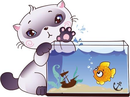 siamese: K�tzchen und Fisch Illustration