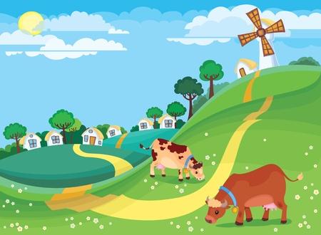 windmolen: De illustratie van land landschap Stock Illustratie