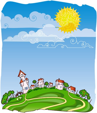 town abstract: Sunny day poster Illustration