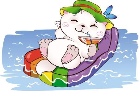 gato caricatura: Gatito de vacaciones