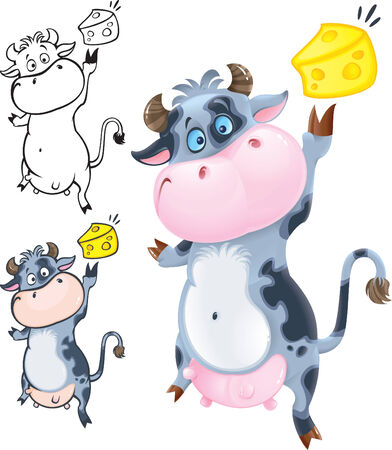 cows milk cheese: Happy cow with cheese