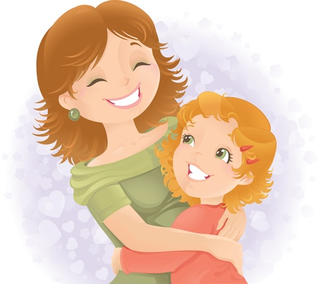 Little girl hugging her mother. Great for Mother's day. Stock Vector - 9348333