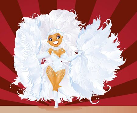 feather boa: Beautiful carnival dancer in amazing costume Stock Photo