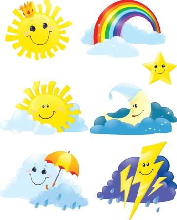 cloudburst: Set of weather symbols.