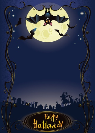 samhain: Halloween background with funny bat and graveyard