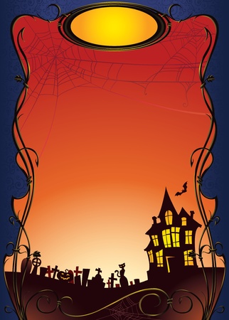 Halloween background with haunted house and graveyard