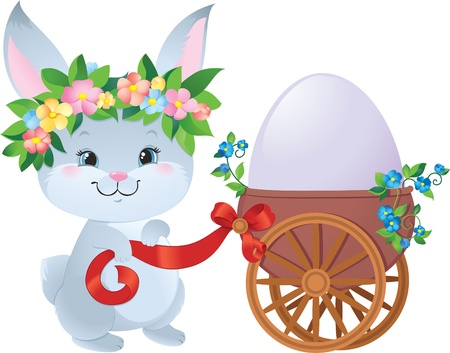 Easter Bunny with egg in a small cart Illustration