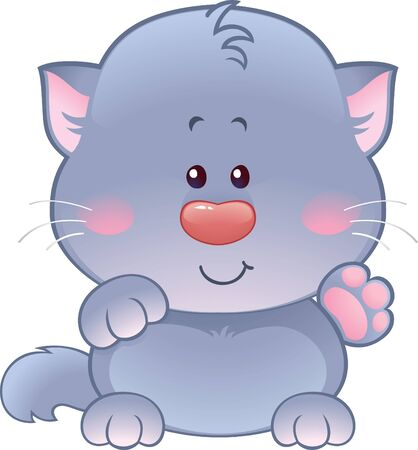 Vector illustration of cute kitten