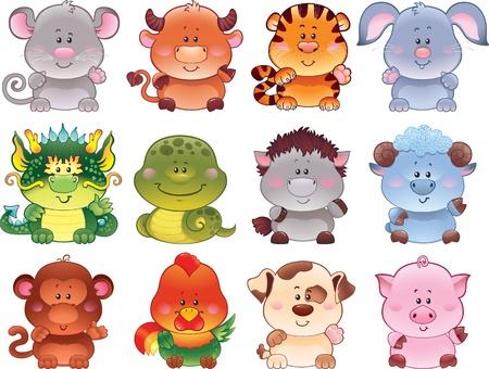 astrologie: Symbole des chinesischen Horoskops Illustration