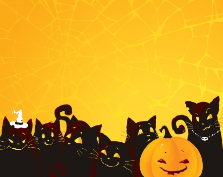 samhain: Halloween background with black cats and pumpkin