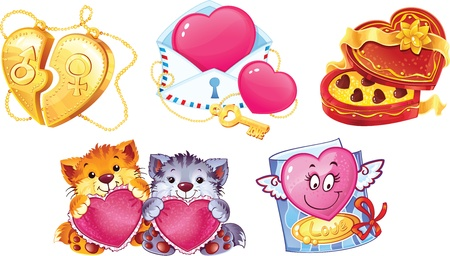 Set of romantic symbols for Valentin s Day