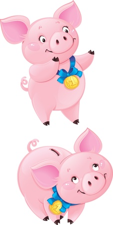 Funny piggy bank Иллюстрация