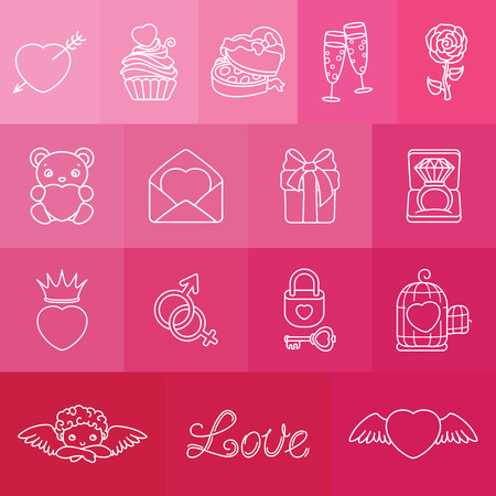 Set of romantic symbols for Valentin\ Illustration