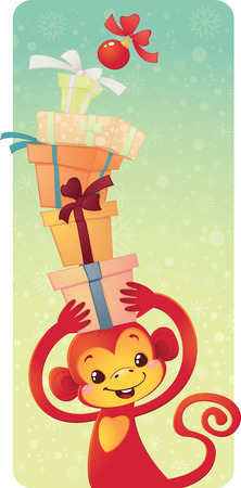 Cute symbol of Chinese horoscope - red monkey with gift boxes Illustration
