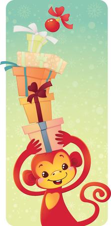 Cute symbol of Chinese horoscope - red monkey with gift boxes Illusztráció