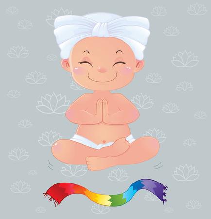 prana: Yogi in meditation sitting in lotus position