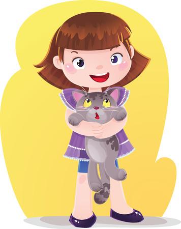 Cartoon Illustration of Girl with Kitten Pet