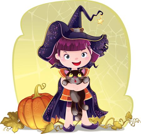 Halloween with a little cute witch, cat and pumpkin.
