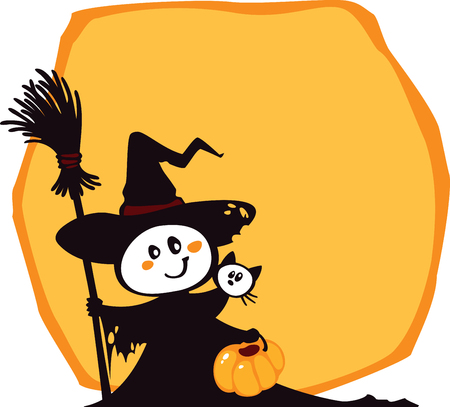 Halloween witch and cat on an yellow background. Illustration