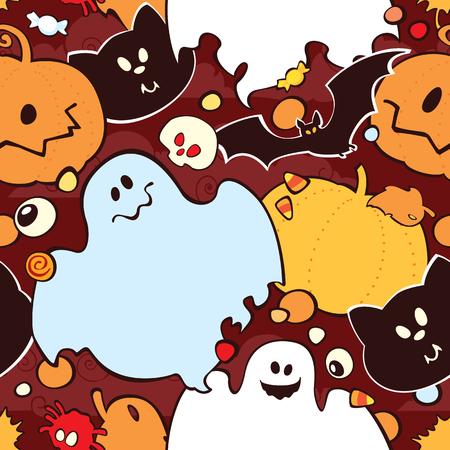 Bright cartoon pattern for Halloween. Vector seamless Halloween pattern.
