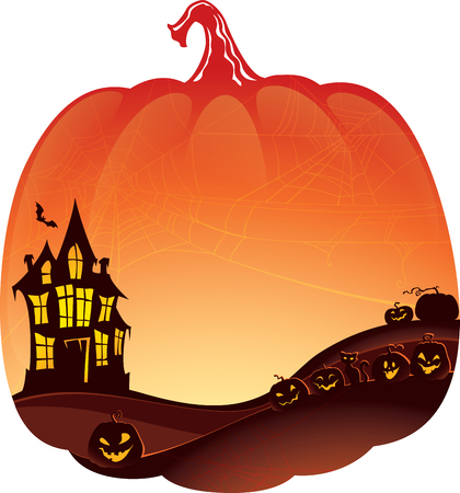 image size: Halloween Double Exposure background with haunted house and pumpkins.Halloween Double Exposure Background with copyspace. This image is a vector illustration and can be scaled to any size without loss of resolution.Created in Adobe Illustrator. Image cont Illustration