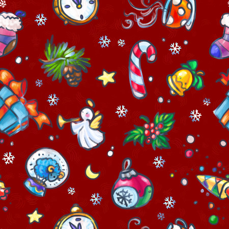 Christmas and New Year seamless pattern with Christmas decorations Stock Photo
