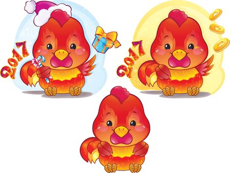 fire symbol: Cute Red Fire Rooster for the Chinese New Year. The red fire rooster is a symbol of the approaching new year. Illustration