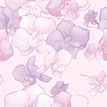 Beautiful Seamless Pattern with Orchid Flowers. Elegant floral seamless background in lilac, pink and white tones