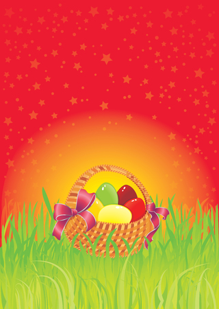 greenery: Easter greeting card with copy-space.