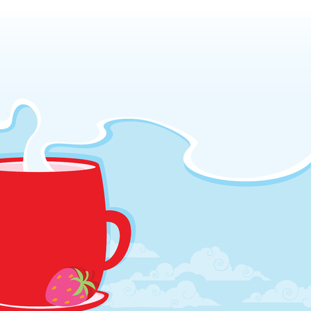 Morning cup with a hot drink on the background of a fresh sky and clouds for your text.