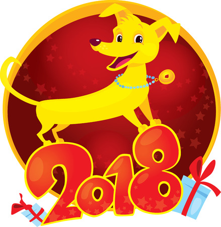 Happy 2018 New Year card. Funny puppy congratulates on holiday. Symbol of Chinese horoscope. Cute vector puppy in cartoon style.