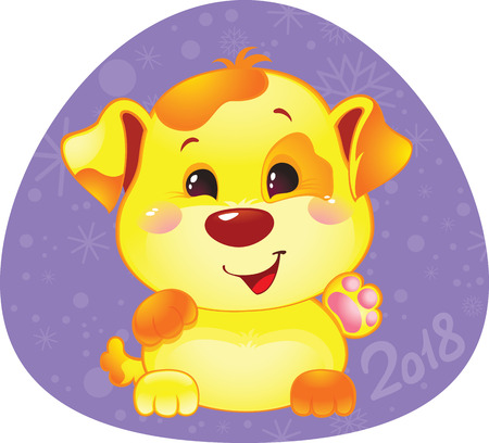 Cute Symbol of Chinese Horoscope - Yellow Dog. Happy 2018 New Year card. Funny puppy congratulates on holiday. Symbol of Chinese horoscope for 2018. Cute puppy in cartoon style