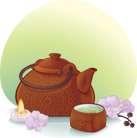 Tea Ceremony Illustration with a Ceramic Teapot and Orchid Flowers ceramic teapot and a cup with green tea. Illustration