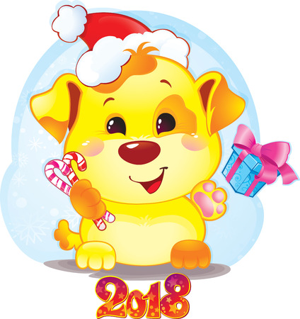 Cute Symbol of Chinese Horoscope - Yellow Dog for New Year 2018. Funny puppy congratulates on holiday. Symbol of Chinese horoscope for 2018. Cute puppy in cartoon style.