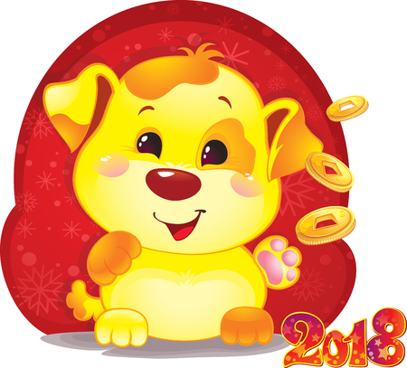Cute funny puppy congratulates on holiday. Symbol of Chinese horoscope for 2018. Cute puppy in cartoon style. Happy 2018 New Year card. Illusztráció