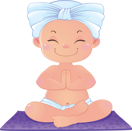 Yogi in meditation sitting in lotus position. illustration of yogi sitting in a lotus asana in meditation, in mindfulness