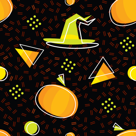 Seamless Halloween pattern in Memphis style with pumpkins, candycorns and witch hat. Abstract vector backgrounds with geometric ornaments in the style of 80s-90s