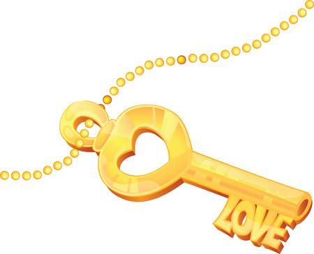 Isolated Golden Love key with stylized cuts and heart shape Illusztráció