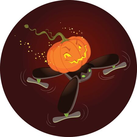 The Cute Halloween Pumpkin Flying on a Drone To celebrate Halloween,old fashioned Jack-o-Lantern using innovative technology and flying on a cute little black drone in the October skies. The isolated Cartoon and background separated on the different layer Ilustração