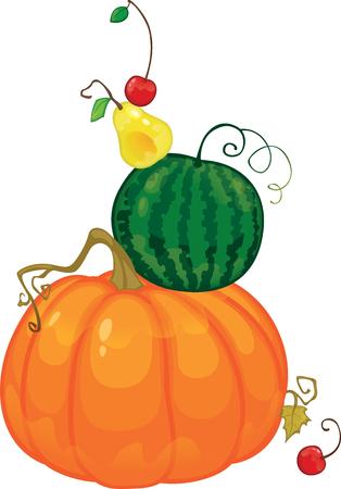 Harvest, fruit and berries vector illustration isolated on white background Illusztráció