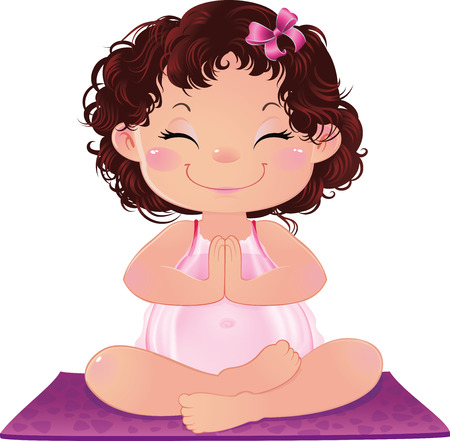 illustration of yogi-girl sitting in a lotus asana in meditation, in mindfulness Image contains gradients, transparencies, blending modes