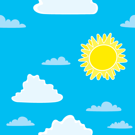 Vintage seamless background with Sun and clouds. Seamless pattern with Sun and clouds. Çizim