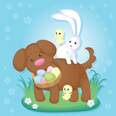 Vintage Easter card with cute puppy, chickens and Easter bunny.Easter greeting card. Vector illustration can be scaled to any size without loss of resolution. Image contains transparencies and blending modes. EPS 10
