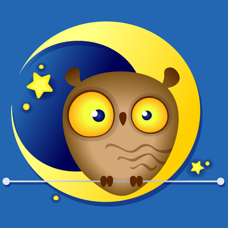Multi-colored illustration of a cute funny owl on the background of the moon Çizim