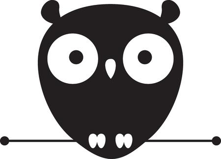 Cute Owl Logo isolated on plain background. Çizim