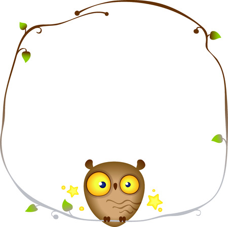 Cute funny Owl sits on a frame of a tree branch