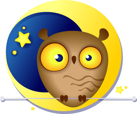Cute funny owl in the background of the yellow moon, Image contains gradients, transparencies, blends.