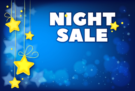 Night Sale Stars Template for Special Offers Advertisement. Sale design template vector.Image contains gradients, transparencies, blends, blending modes, gradient meshes. EPS 10 Çizim